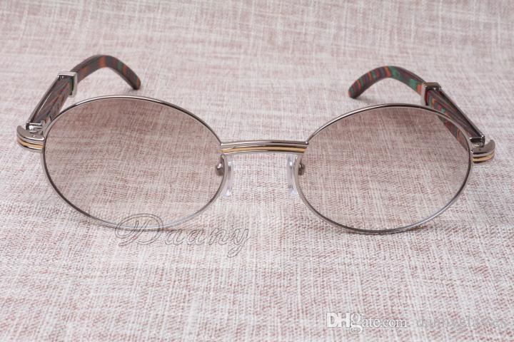 Óculos de sol redondos Cattle Chifre Óculos 7550178 Pavão Cor Madeira Homens e Mulheres Óculos de Sol Glasess Óculos Tamanho: 55-22-135mm