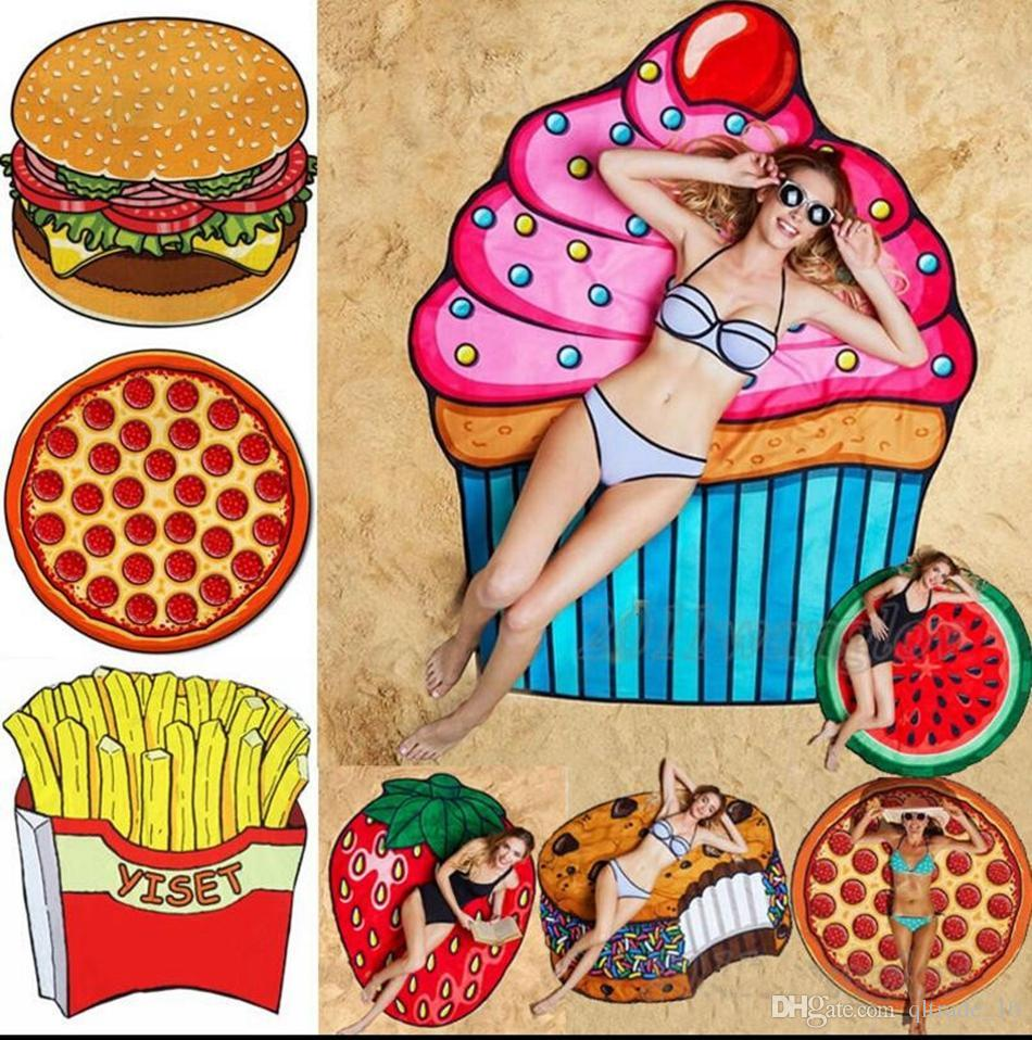 11 Designs Round Beach Towel Pizza Hamburger Skull Ice Cream Strawberry  Smiley Emoji Pineapple Watermelon Shower Towel Blanket Shawl OOA1390  Decorative ... 2b8953fbeb