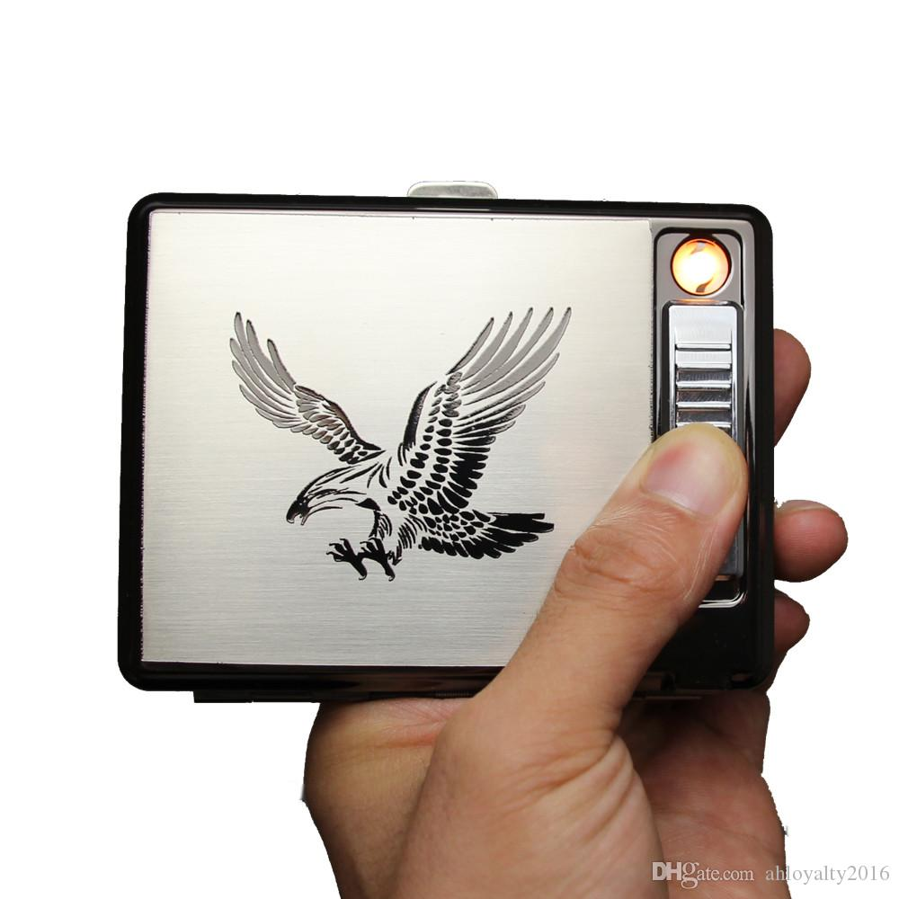 New Design Eagle USB Rechargeable Electric Cigarettes Lighter 20 Cigarettes Case Box Stainless Steel with Gift Box