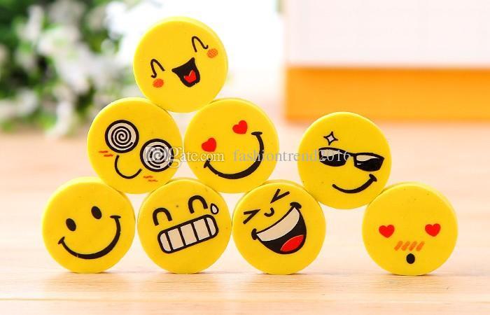 Emoji Eraser Emotion Kawaii Eraser Novelty Stationery School Supplies Wholesale Cartoon Rubber Erasers
