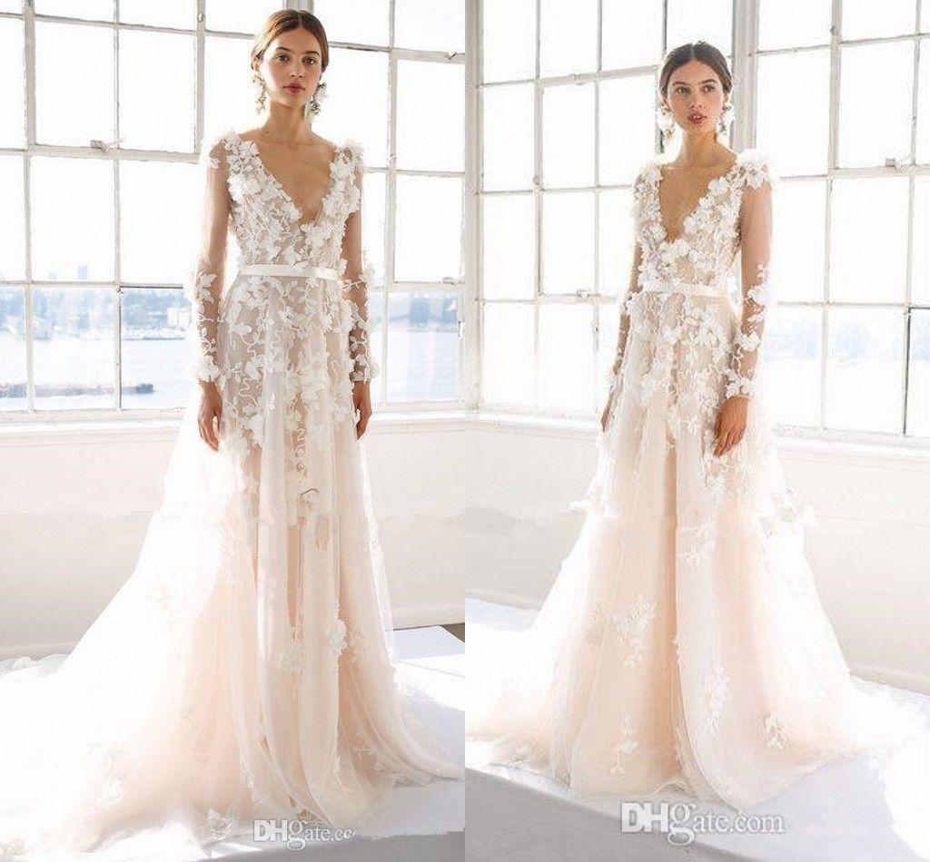 Discount Marchesa 2017 3d Floral Long Sleeve Beach Wedding Dresses