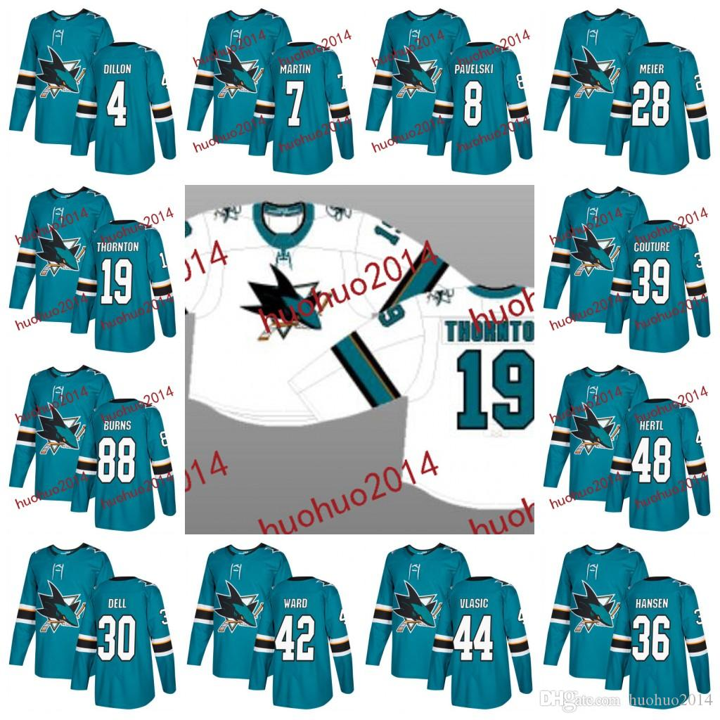 best website 9014b 91b74 San Jose Sharks 2017-2018 Season 19 Joe Thornton 8 Joe Pavelski 88 Brent  Burns 39 Logan Couture 48 Tomas Hertl Hockey Jerseys