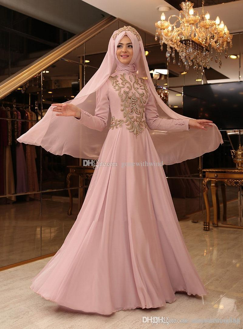 Muslim Hijab Evening Gowns 2017 Prom Dresses Lace Appliques Beaded ...