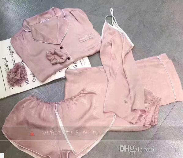 Usine direct 2017 été nouveau pyjama en soie de dames de l'été 7 ensembles de pantalons à manches longues femmes