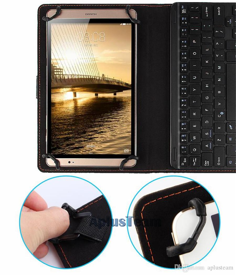 "Hot Sale Wireless Bluetooth 3.0 Keyboard Leather Case Removable With Touch Panel for Tablet PC Apple Android 7 9 10"" Inch Support 3 System"