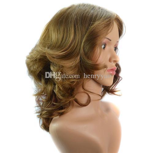 Kısa Sprial Bukleler Ucuz Sentetik Saç Peruk Kadınlar için Orta Yan Bang Peruk Isıya Dayanıklı Sentetik Peruk