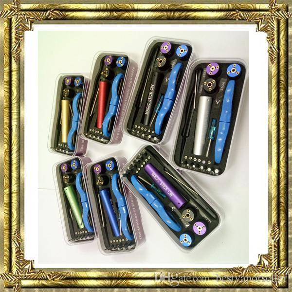 عصا سحرية cw الأدوات rda vape أداة مربع vape تهزهز كيت 6 في 1 سلك اللف آلة koiler كيت الفتيل مع نوعية جيدة