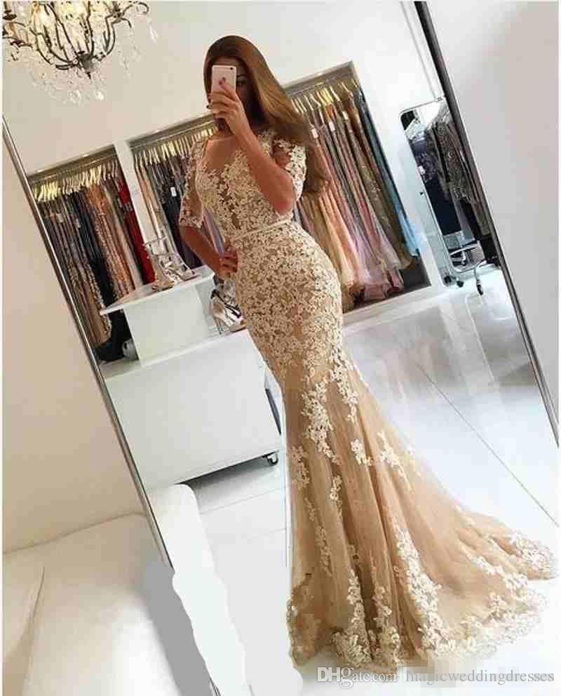 2019 Champagne Lace Half Sleeves Sirena Vestidos de noche Shee Neck Backless Tallas grandes sin espalda Celebrity Cocktail Party Vestidos fiesta