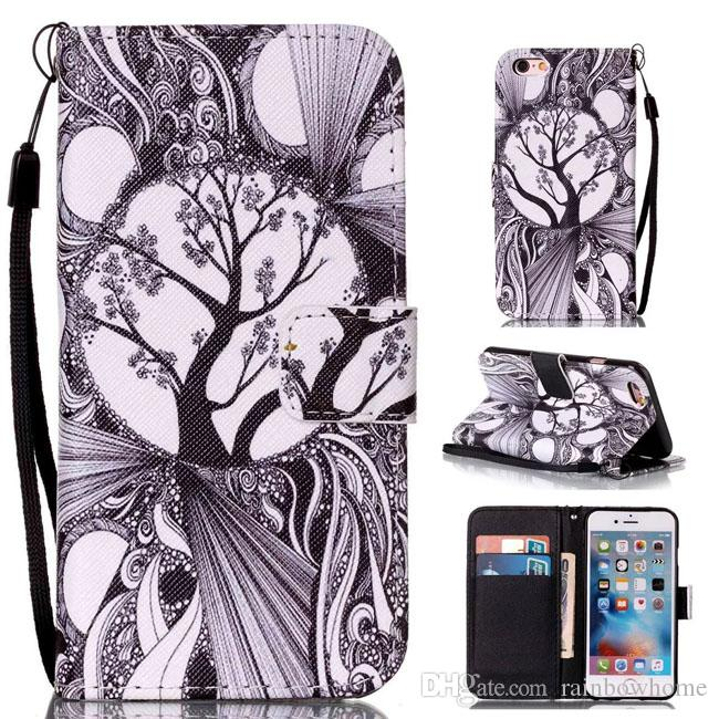 Traumfänger-Eulen-Baum-Schlag-PU-Leder-Schlag-Fall für iphone 6 6S 7 8 Plus Rand der Galaxie-S7 Anmerkung 7 J510 J710