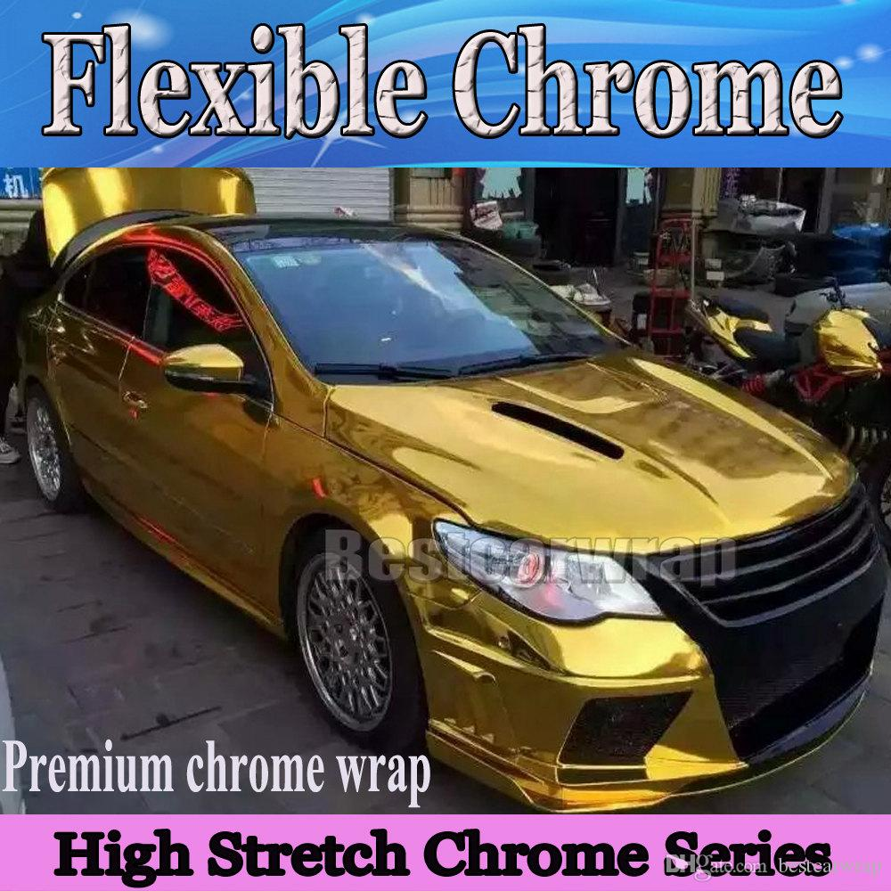 UK Mirror Red Metallic Chrome Car Vinyl Wrap Bubble Air Free