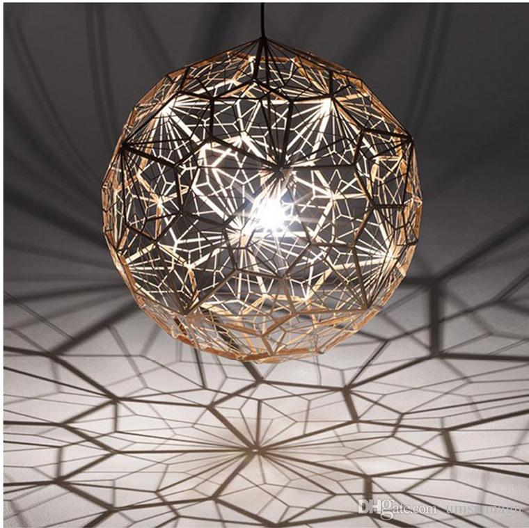 Lampe ronde moderne pendentif Lampes American Droplight Argent Or Cuivre Pendentif Lumières Fixture Hôtel Bar Maison Éclairage Intérieur Restaurant Lampe