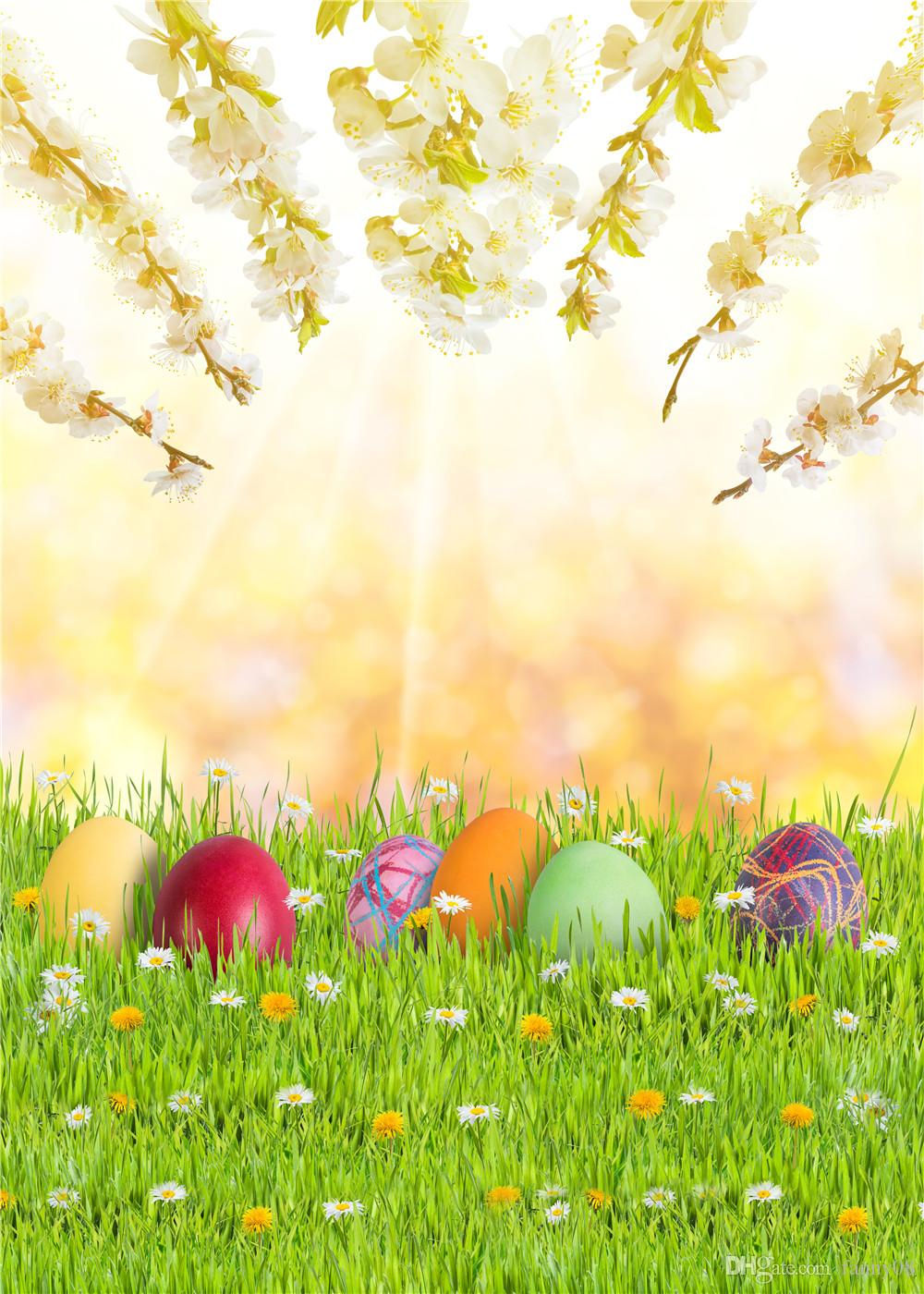 Seamless Easter Photo Studio Background Red Eggs Flowers Photographic Backdrops Natural Scenery Spring Backgrounds