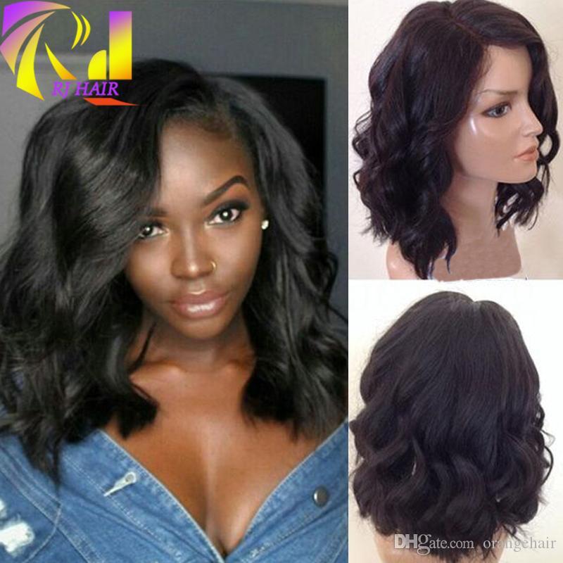Nouveau Cap Lace Front Wig Vague Naturelle Courte Bob Pour Femmes Noires Glueless 8A Grade Full Lace Perruques Vierge Brésilienne Cheveux Humains