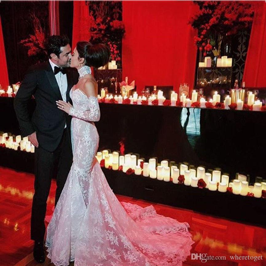 Romantische Lange Brautkleider High Neck Long Sleeve Garten Brautkleider Naher Osten Lange Boho Brautkleid Robe De Mariage 2019
