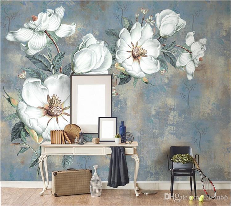 Пользовательские цветы обои 3D, ретро розовые фрески для гостиной спальни ТВ фоне стены водонепроницаемый Papel де Parede