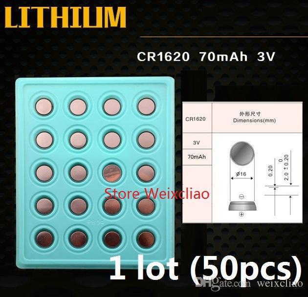 50 stücke 1 los CR1620 3 V lithium li ion knopfzelle CR 1620 3 Volt li-ion münzbatterien tablett paket Freies Verschiffen
