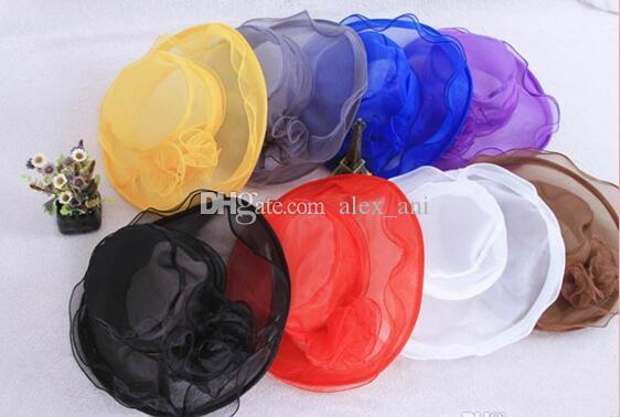 top quality 2017 new arrival womens Organza Hat Kentucky Derby Wedding Church Party Floral Hat wide brim sun summer hats for women