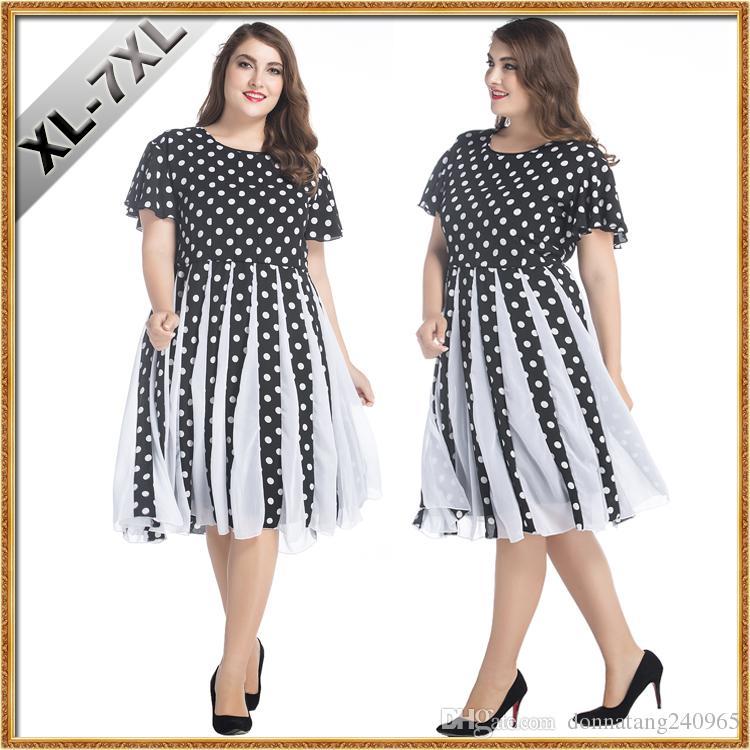 XL-7XL Plus size retro 50s Hepburn storm point dress leisure fashion  stitching posed dress plus size party chiffon dresses