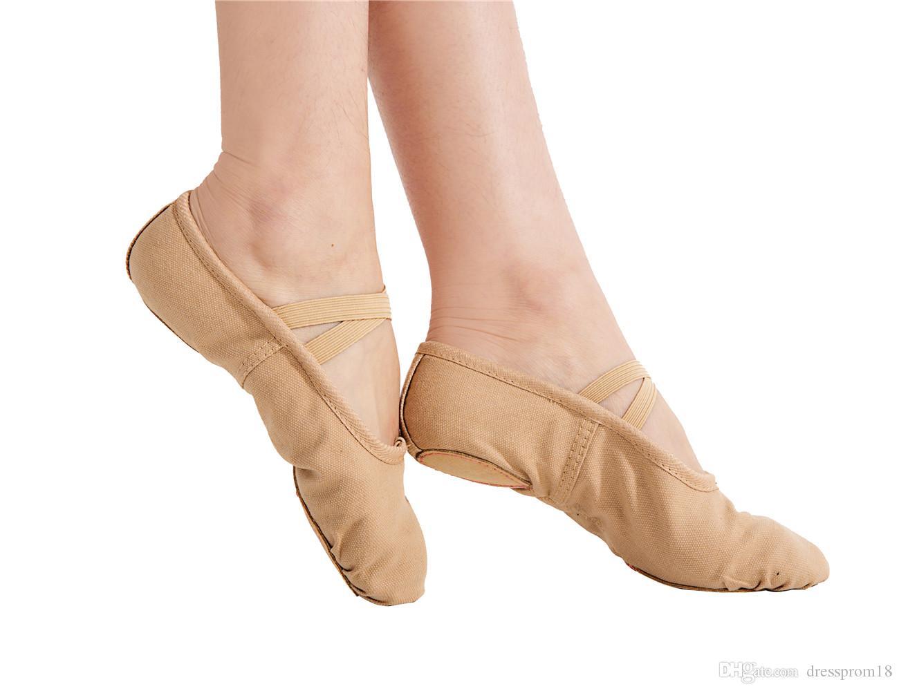 Женский холст балетные танцевальные туфли танцевальные тапочки практикуют бальные йоги плоский разделительный спортивный танцующий живот мягкий