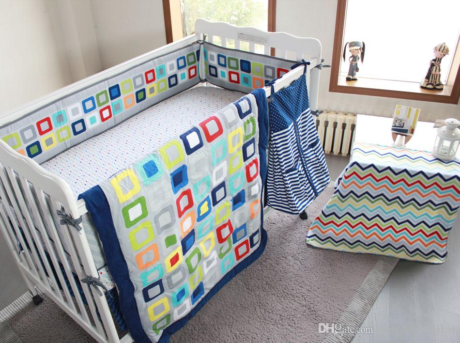 Cot Bedding Set 9 Pieces Embroidered Colorful Tetris Baby Bedding Set include Quilt Bumper Mattress Cover Bed Skirt Blankets Diaper Bag