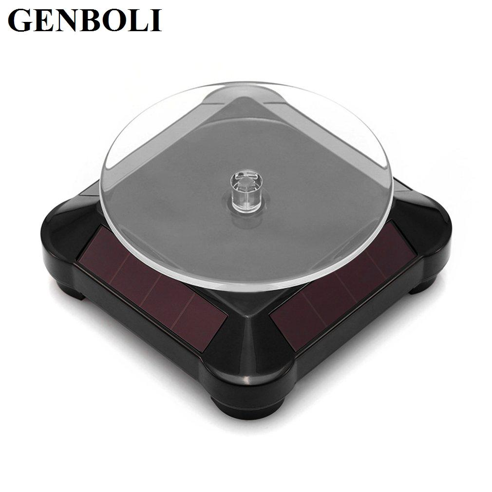 10*10*4.2cm 360 Degree Turntable Rotating Solar Power Battery Jewelry Display Watch Stand Holder Ring Sunglasses Stand