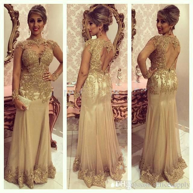 2018 Sparkly Formal Long Mother of the Bride Dresses Gold Lace Appliques Beaded Long Sleeves Red Carpet Celebrity Evening Gowns Custom Made
