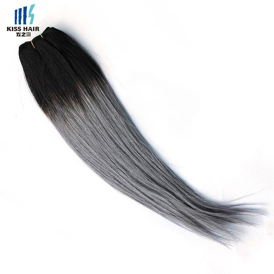 300g 두 톤 T 1B 짙은 회색 Ombre 인간 헤어 위브 번들 좋은 품질의 색깔 브라질 페루 말레이시아 인도의 스트레이트 헤어 익스텐션
