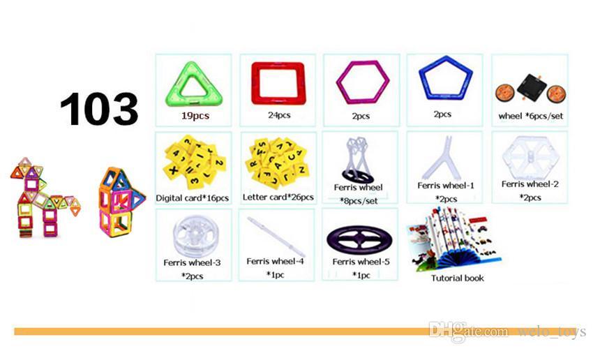 Tuiles de construction de jouets magnétiques Blocs Ensemble pour enfants 103 pièces similaires jouets de construction magnétiques enfants éducatif jouer magnétique briques de jouets