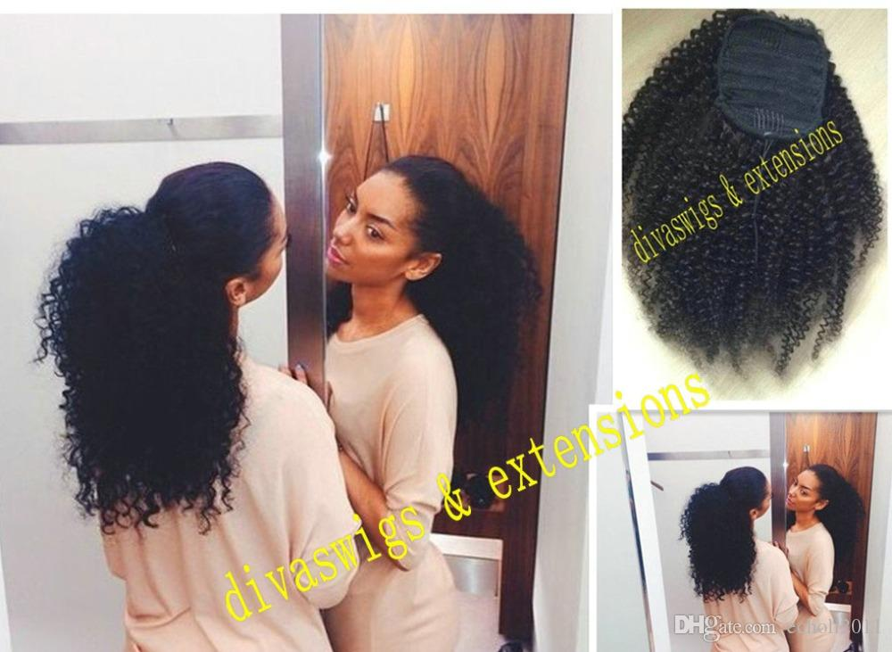 Sexy Women Afro Kinky Curly Human Hair Ponytail With Clips