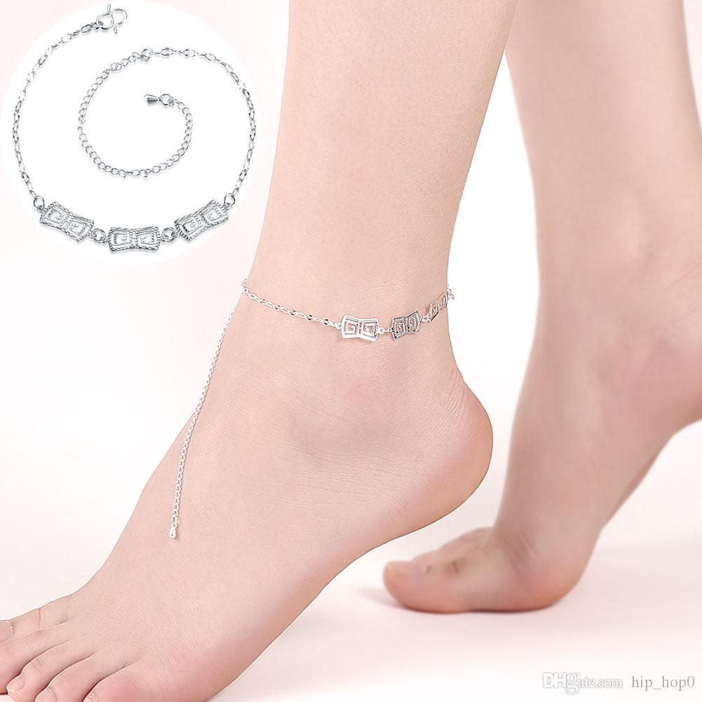fade anklet color in clover key design foot women cute from leg bracelet rose locking for never item lock chain anklets gold jewelry