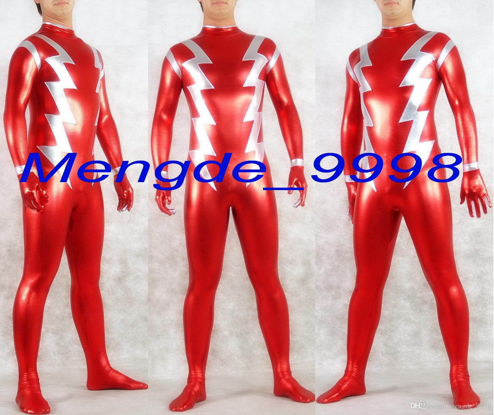 0a02886b7d Unisex Superhero Suit Outfit Red Silver Shiny Lycra Metallic Flash Suit  Catsuit Costumes Fancy Flash Costumes Halloween Cosplay Suit M198 Themed  Halloween ...