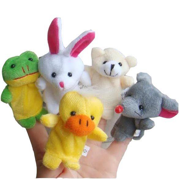 Hot sale Cartoon Animal Finger Puppet Plush Toys Children Favor Dolls