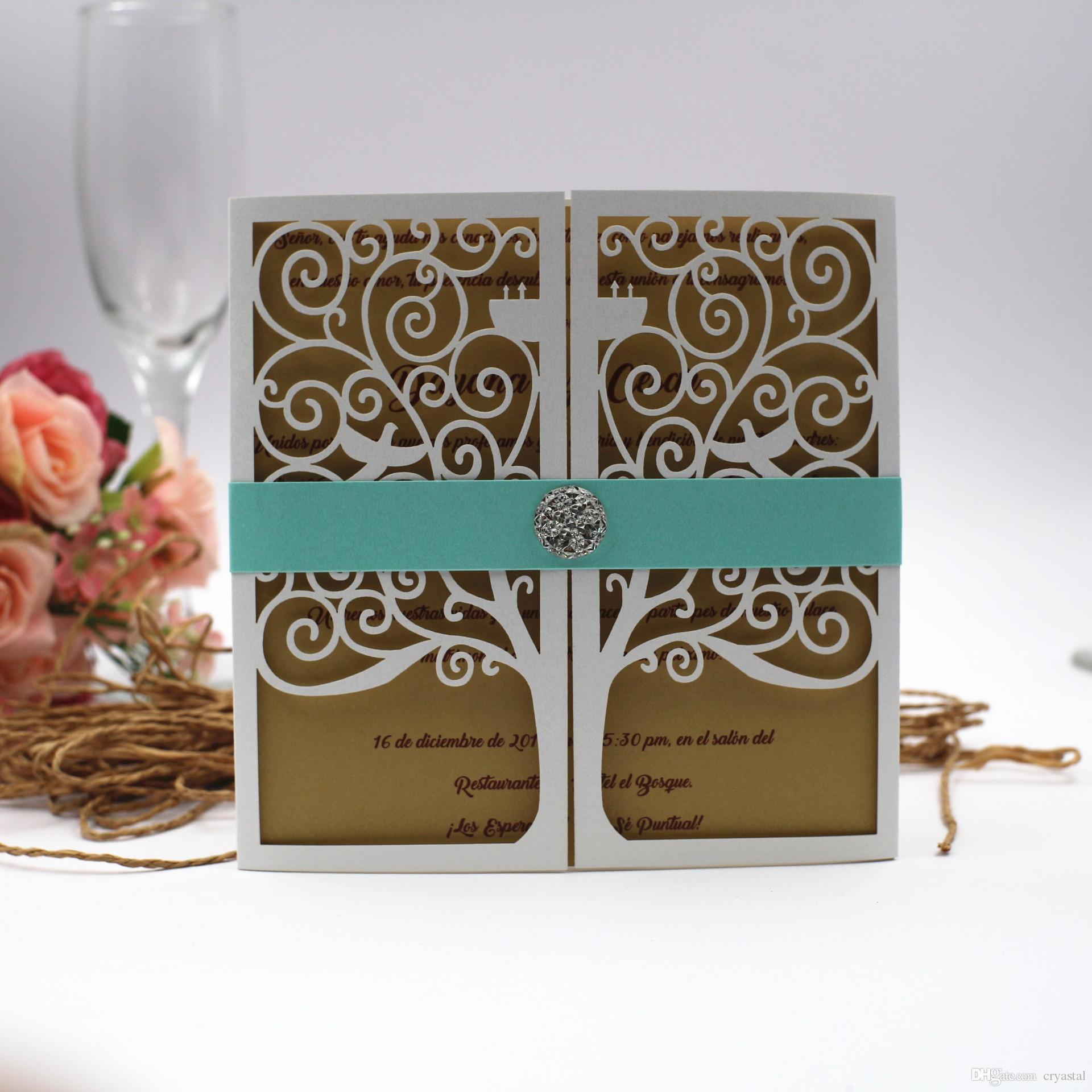 2018 White Love Tree Design Laser Cut Wedding Invitations Cards ...