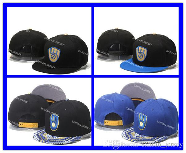 5cf734a547581 Wholesale MLB Milwaukee Brewers Snapback Hats Embroidery Logo Men S Sports  Adjustable Baseball Caps Hip Hop Flat Visor Send In Box Baseball Caps For  Women ...