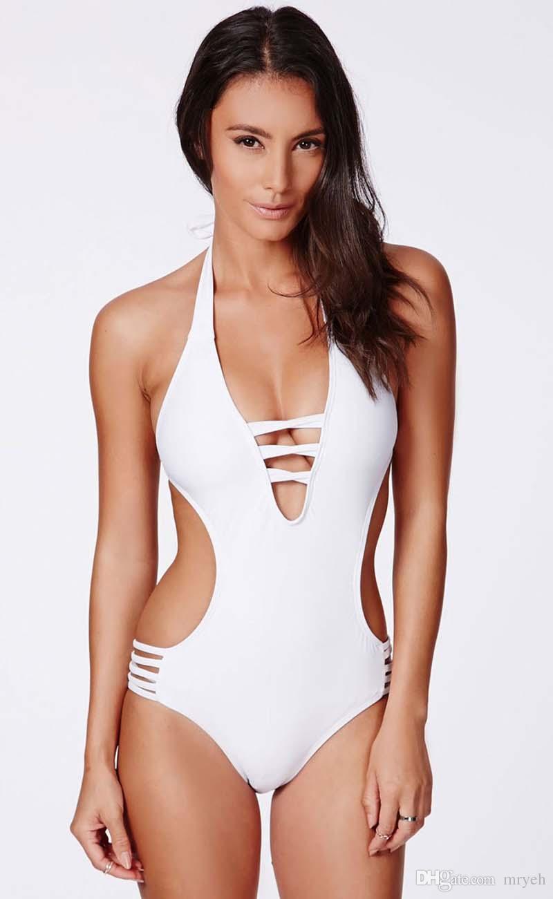 d3cb6d764890d Online Cheap Sexy One Piece Bikini Women'S Push Up Padded Halter Monokini  One Piece Bikini Swimsuit Beachwear Swimwear Deep V By Mryeh   Dhgate.Com