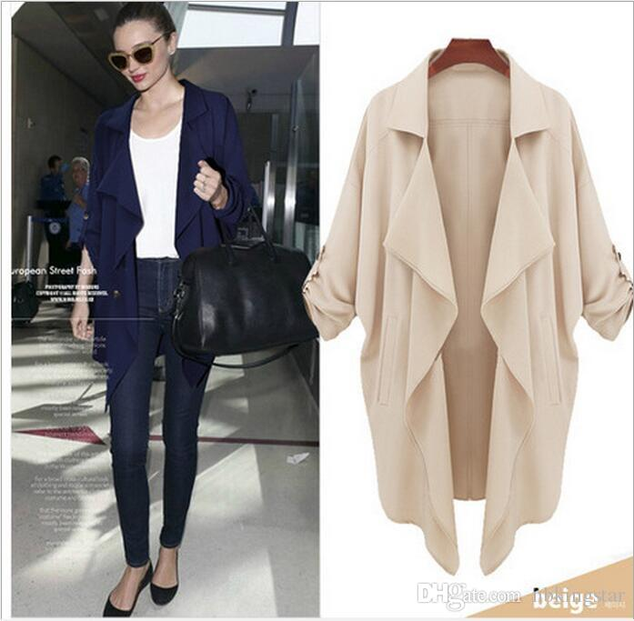 9c657c9221a 2019 Women S Casual Fashion Half Sleeves Lapel Waterfall Trench Coat Loose  Pockets Thin Long Cardigan Outerwear Plus Size S 4XL From Nbkingstar