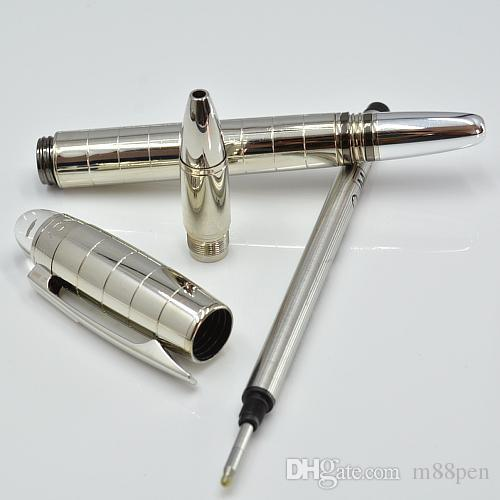 hot sell Silver checker metal ballpoint pen / Roller ball pen / Fountain pen with crystal head office stationery luxury Writing ink pens