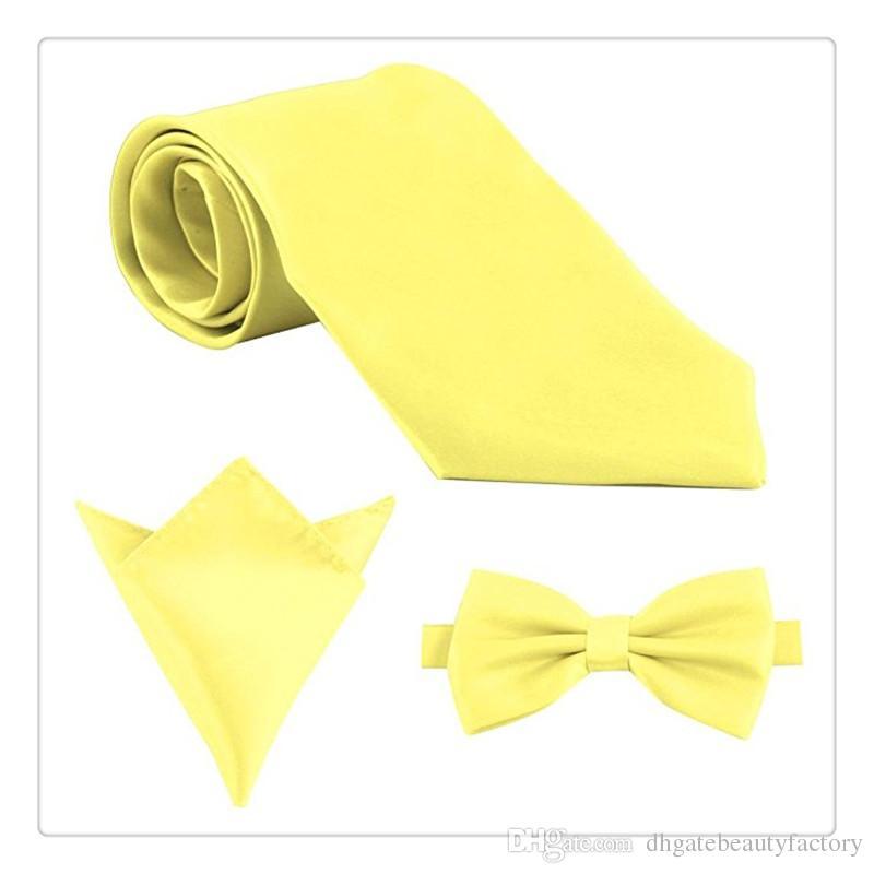 Fashion Mens Ties Polyester Skinny Neck Ties Satin Solid Color Necktie Tie Hanky Handkerchief Pocket Square Set Men Gift Ideas