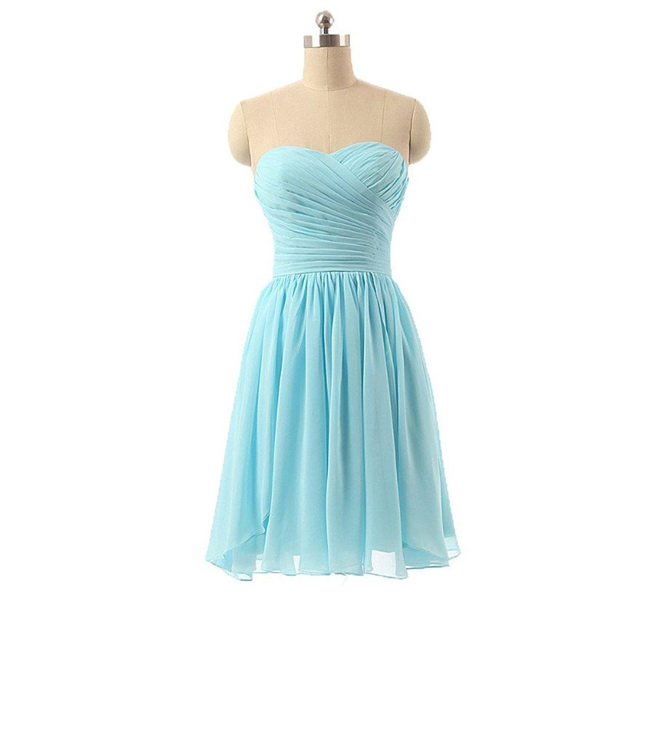 Dormencir Strapless Ruched Chiffon Short Junior Bridesmaid Wedding ...