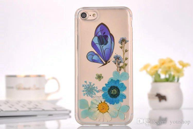 Floral Pressed Flowers Phone Case Soft Rubber Gel TPU Clear Cover for iphone 6 plus 6S Plus