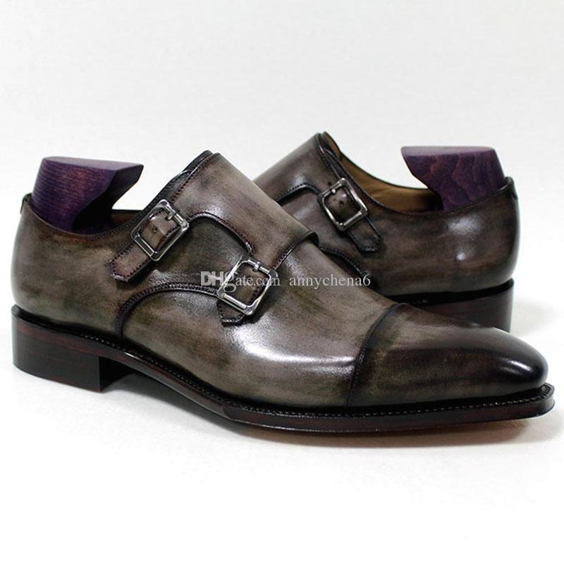 Мужчины платье обувь монах пряжки ремень оксфорды пользовательские ручной работы обувь квадратный носок натуральная телячья кожа Цвет патина серый HD-N192