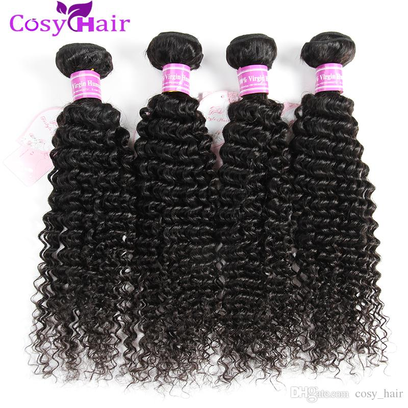 8A Brazilian Jerry Curly Unprocessed Peruvian Malaysian Indian Cambodian Human Hair Weaves Jerry Curly Hair Bundles Double Weft Extensions