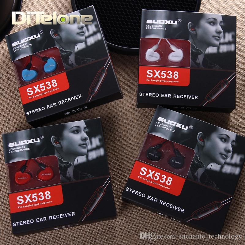 SUOXU SX538 Ohrhörer verdrahtet Sport Bass Stereo Ohrhörer Headset mit Mic In Ohr 3.5mm AUX Für iphone iOS / Android schwarz / weiß / rot / blau