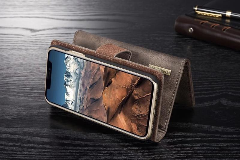 3 раза 2in1 кожаный чехол бумажник для iphone 11 XR XS MAX X 8 7 Galaxy S10 S9 Note 10 9 магнитный съемный съемный слот для откидной крышки карты