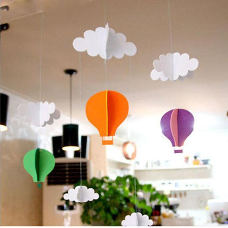 3M Hanging Pastel Clouds Hot Air Balloons Bunting Garland Felt Banner DIY Baby Shower Photo Prop Birthday Party Decor ZA2956