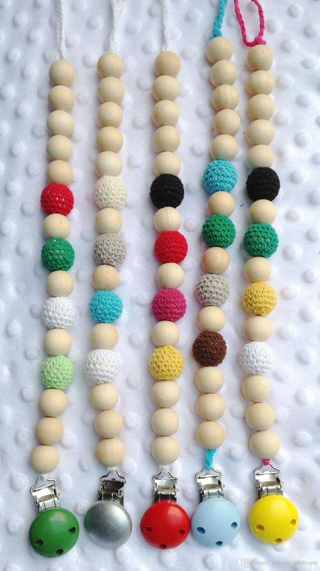 Por Lote Venda Vermelho Verde Azul Amarelo Cor Crochet Beads New Born Bebê Chupeta Clipe Manequim Titular Natural