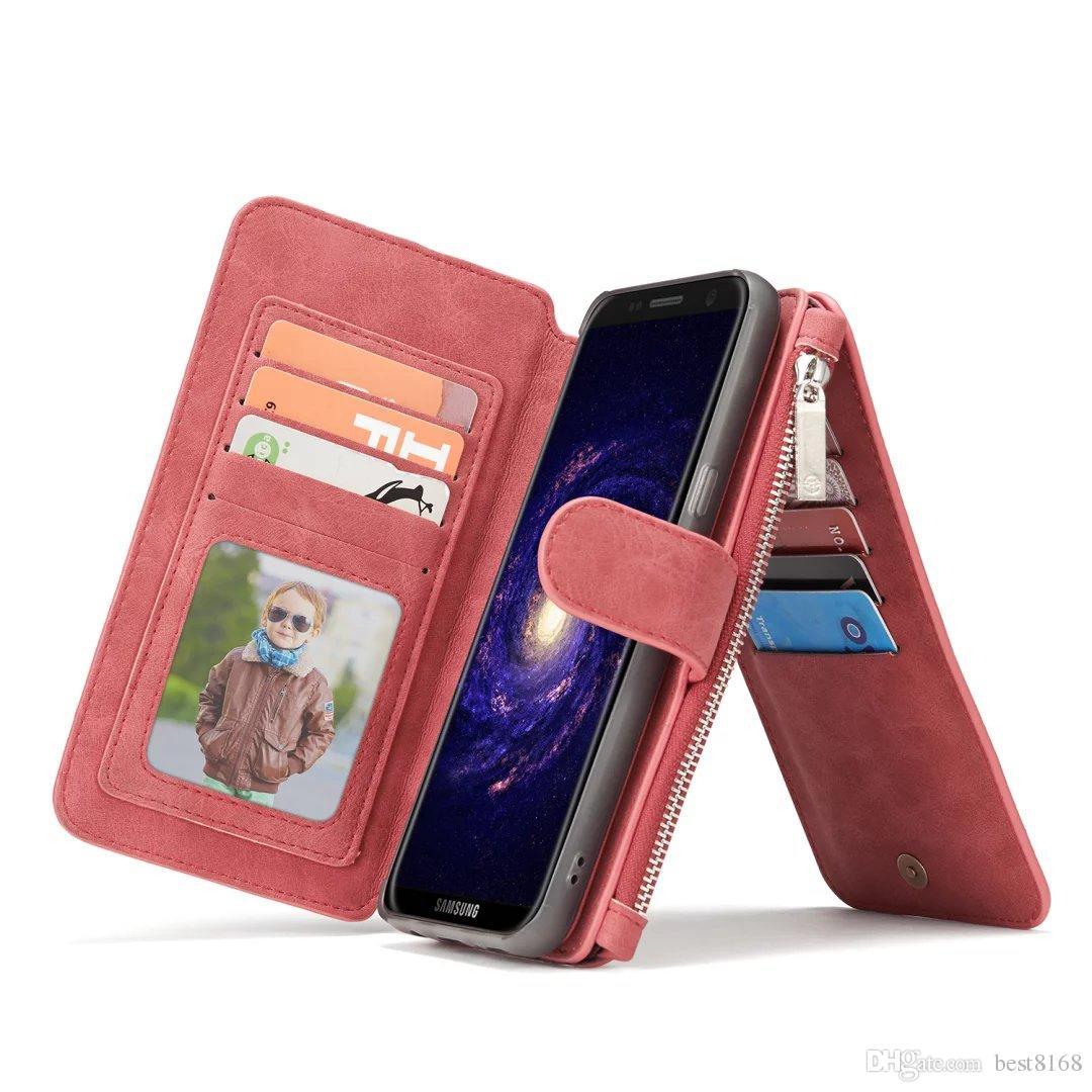 Casos multifuncionales para iPhone 12 11 Pro XS MAX XR X 8 7 6 GALAXY Note 20 S20 Casema Cartera Magnética Magnético Removible Detachable