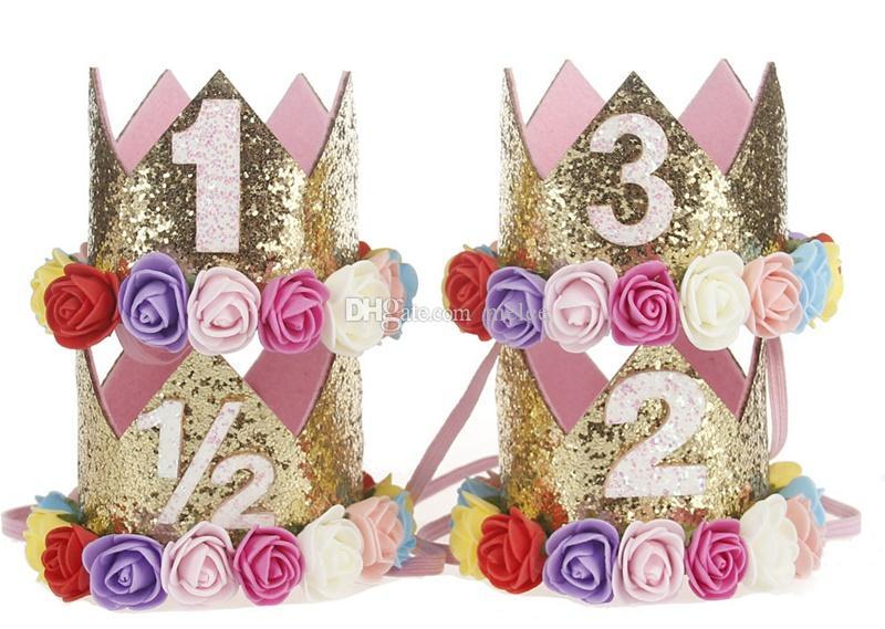 1st Baby Girls 크라운 무지개 꽃 머리띠 아기 소녀 머리띠 반짝이 골드 생일 아이 헤어 액세서리 스매시 케이크 아기 생일 모자