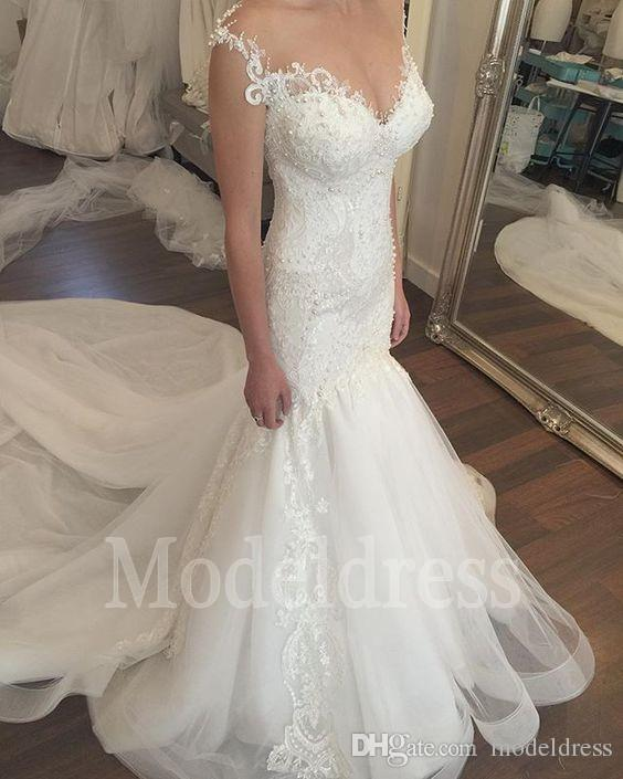 Splendida 2019 Pizzo Mermaid Abiti da sposa Sheer Neck Perle Illusion Back Tromba Staccabile Train Vintage Abito da sposa Plus Size Personalizzato