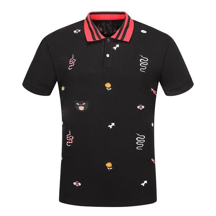 d7ca0b3670 Compre 2018 Marca De Luxo Homens Polo Camisa High End 100% Algodão Mens  Flor Pantera Impressão Pantera T Shirt Homem Polo Clothing De  Braveheartshop